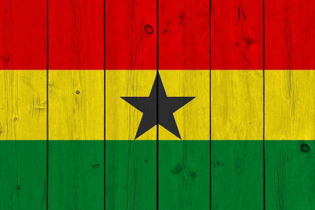 Ghana flag painted on old wood plank