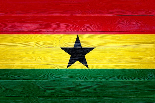 Ghana flag painted on wooden planks