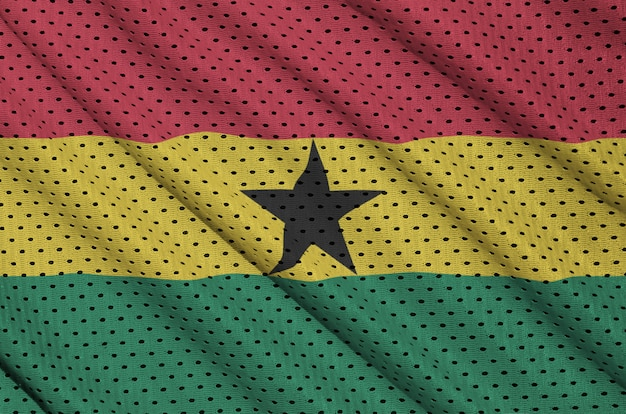 Ghana flag printed on a polyester nylon sportswear mesh fabric