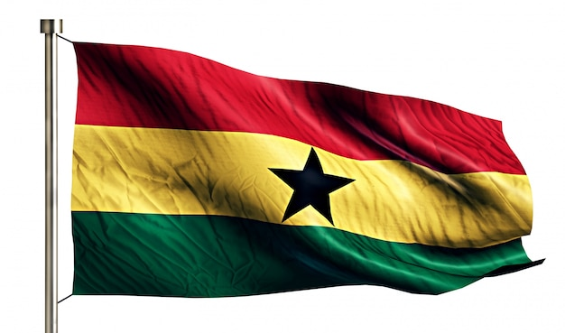 Ghana national flag isolated 3d white background