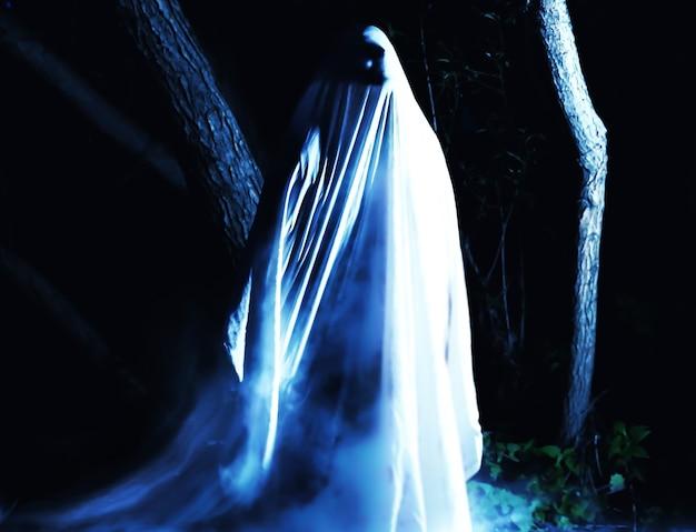 屋外で夜の幽霊。周りの青い煙。ホラー映画のコンセプト。森の中の怖いもの。ハロウィンコスチュームのアイデア。すべての聖人イブの秋のごちそう。