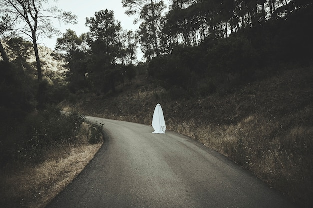 Ghost on dark countryside road