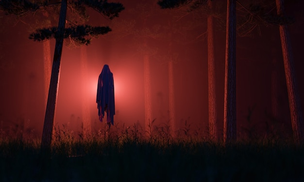Ghost of the evil spirit in a mysterious foggy forest