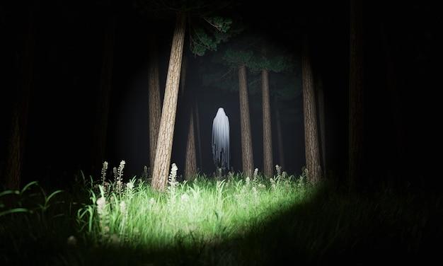 Призрак, освещенный фонарем в лесу