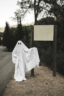 Ghost pointing at sign board