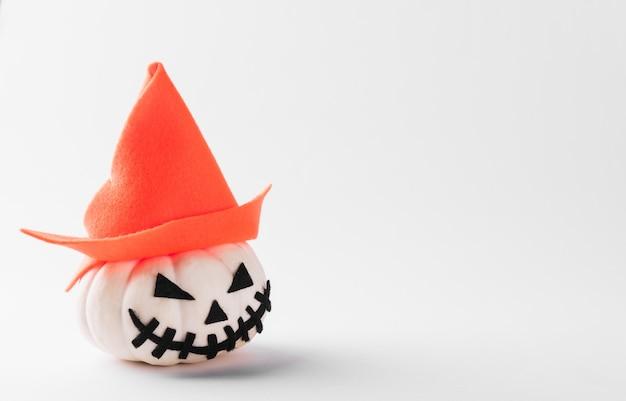 The ghost pumpkin head jack lantern scary smile wear hat