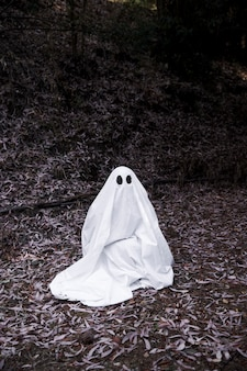 Ghost sitting on soil in forest