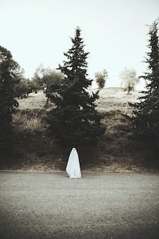 Ghost standing on asphalt road