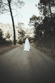 Ghost standing on countryside route