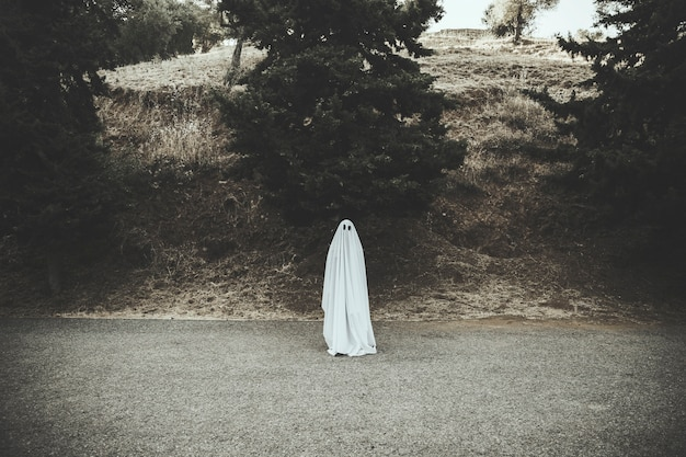 Ghost standing on dark countryside road