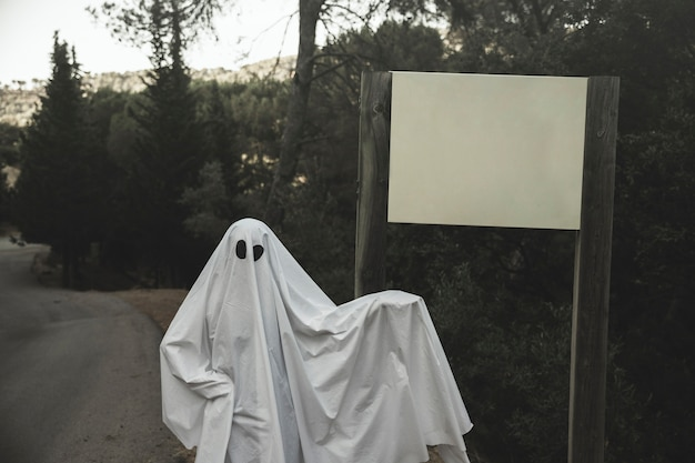 Ghost standing near sign board placed on road