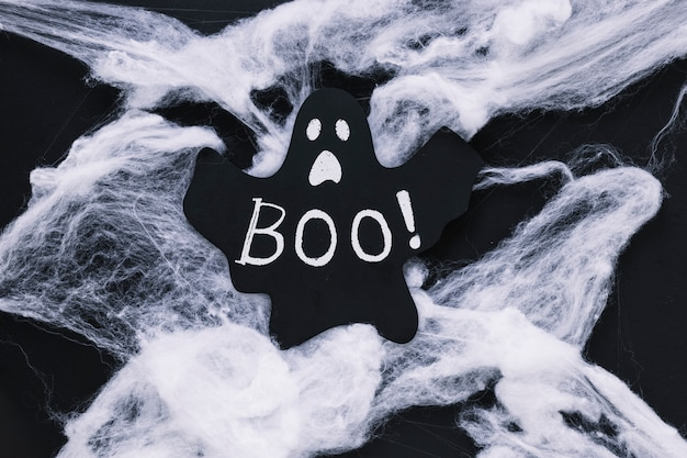 Ghost with boo word on cobweb