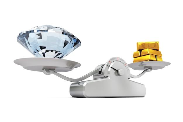 白地にシンプルな体重計でバランスをとるゴールデンバーと巨大なダイヤモンド。 3dレンダリング。