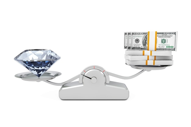 白い背景の上のシンプルな体重計でお金のバランスをとる巨大なダイヤモンド。 3dレンダリング。