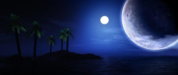 Il rendering 3d di palma, isola, con i pianeti e la luna nel cielo