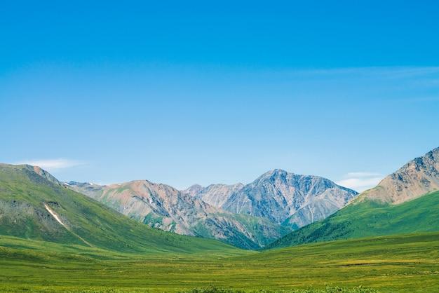 Гигантские горы со снегом над зеленой долиной под ясным голубым небом. луг с богатой растительностью горной местности в солнечном свете. удивительный солнечный горный пейзаж величественной природы.