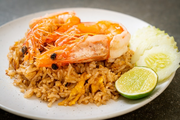 Giant prawns fried rice with shrimp paste