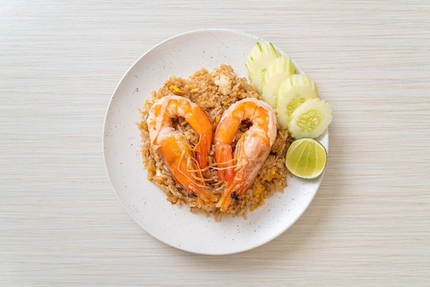 Giant prawns fried rice with shrimp paste