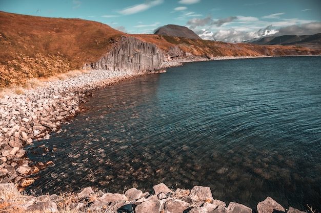 Giant stone coast in olafsfjordur village. iceland