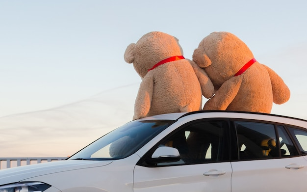 Giant teddy bears with red ribbons sitting on top of the car hood outdoor.