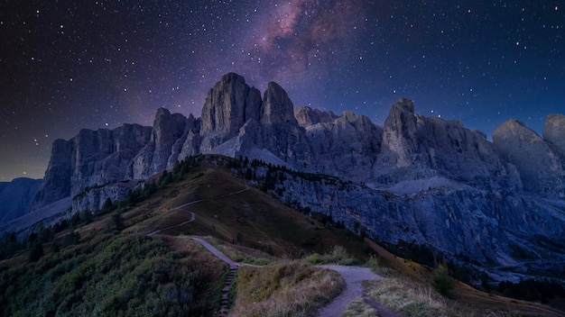 Giau pass at night with the milky way