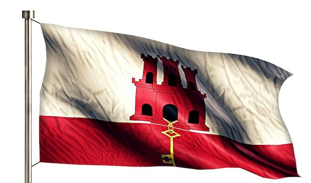 지브롤터 국기 절연 3d 흰색 배경