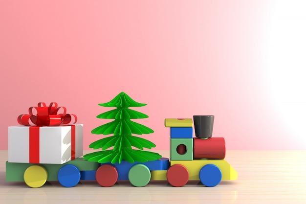 Подарок и поезд на деревянный стол
