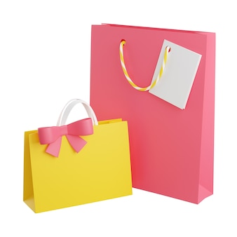 Gift bags with handles, card and bow 3d render illustration. paper or plastic shopping packages for birthday or anniversary congratulation concept. greeting cardboard packets isolated on white.