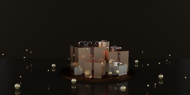 Подарочная коробка и лента праздник украшения фон 3d иллюстрации
