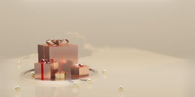 ギフトボックスとリボンの休日の装飾の背景3dイラスト
