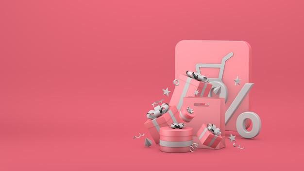 Gift box banner online shopping promo sale 3d rendering