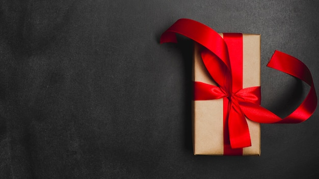 Gift box on black background