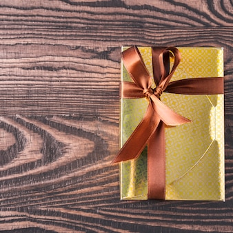 Gift box  chocolate candies. top view. space for text