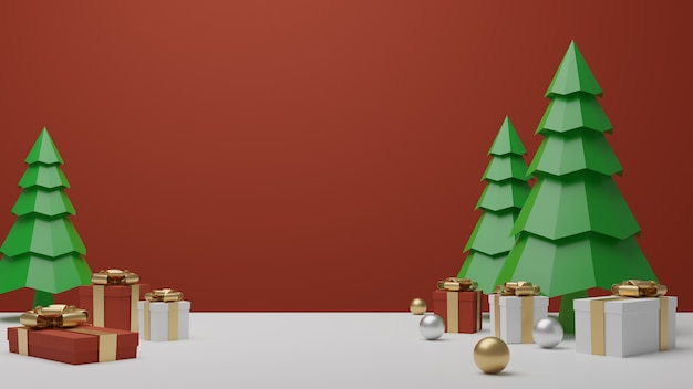 Gift box and christmas trees podium