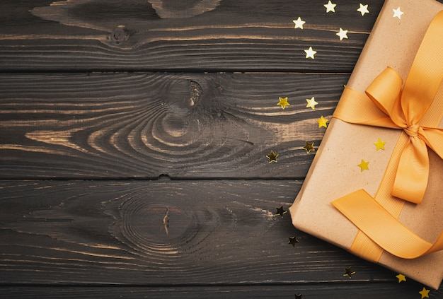 Gift box for christmas with golden stars