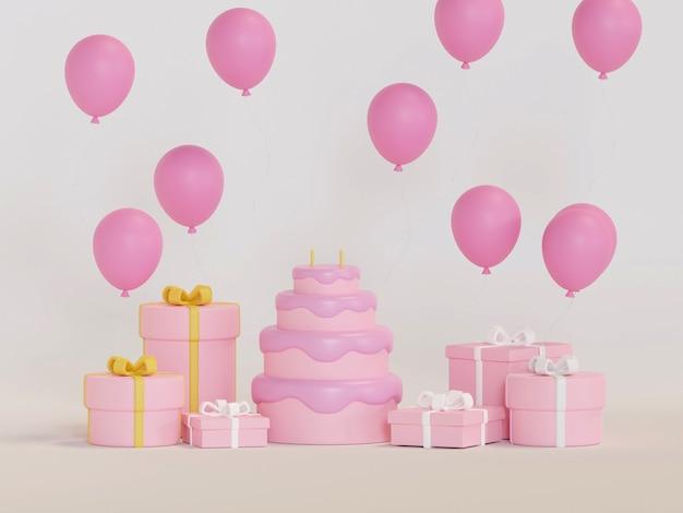 Подарочная коробка красочный день рождения и с новым годом вечеринка 3d рендеринг