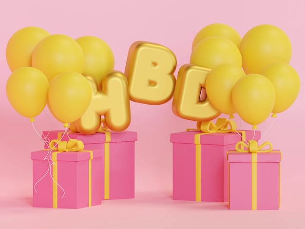 Gift box colorful birthday and happy new year party 3d rendering