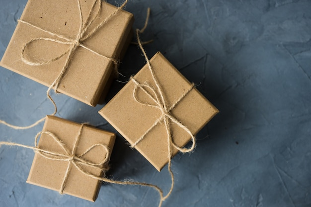 Gift box on concrete