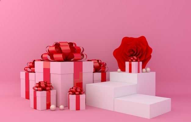 Gift box display background for product presentation