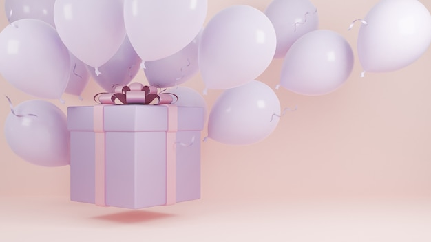 선물 상자 풍선 및 핑크 리본 파스텔 배경., 크리스마스와 새 해 복 많이 받으세요 배경 개념., 3d 모델 및 그림 공기에서 비행.