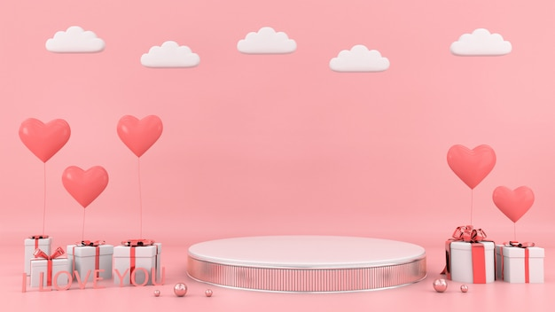 Gift box heart floating card background love valentine concept 3d rendering