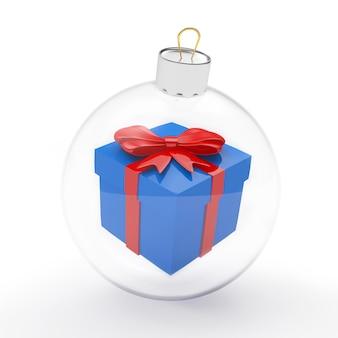Подарочная коробка в прозрачном новогоднем шаре
