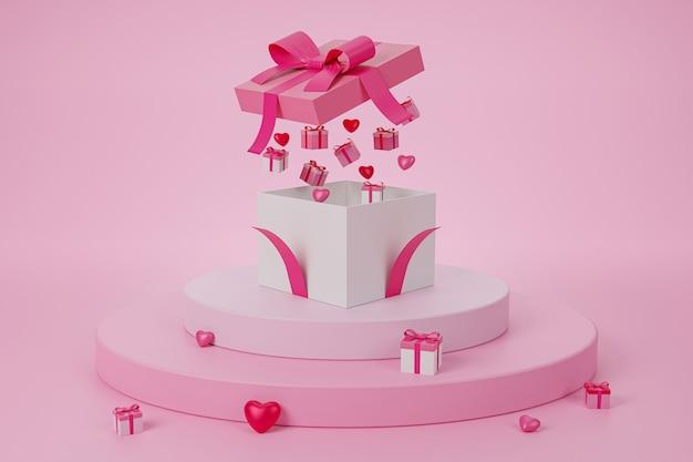 선물 상자 열린 마음 부동, 사랑 발렌타인 개념 3d 렌더링