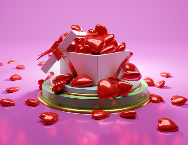Gift box open with red balloon heart, 3d illustration