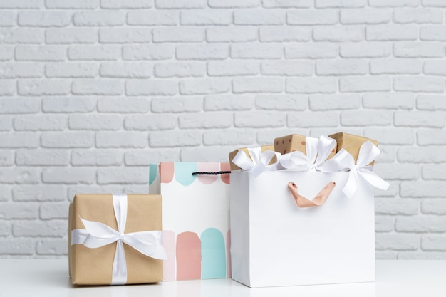 Gift box in paper shopping bag