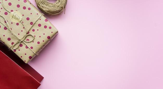 Gift box on pink