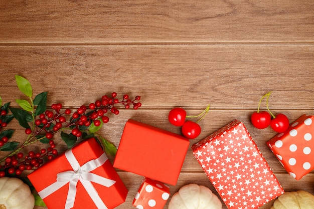 Gift box red and accessories holiday christmas background.