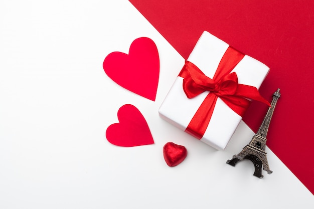 Gift box, red paper hearts . valentine's day