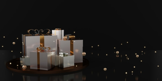 Gift box and ribbon holiday decoration background 3d illustration