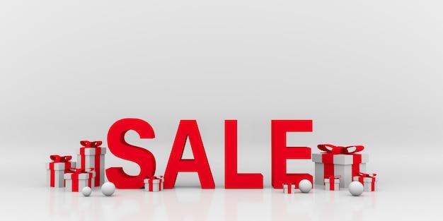 Gift box sale. 3d illustration